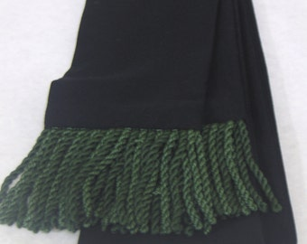 Black Polyester/Linen Blend Sash w/2-Tone Green Fringe for Pirate, Ren Faire, Cosplay