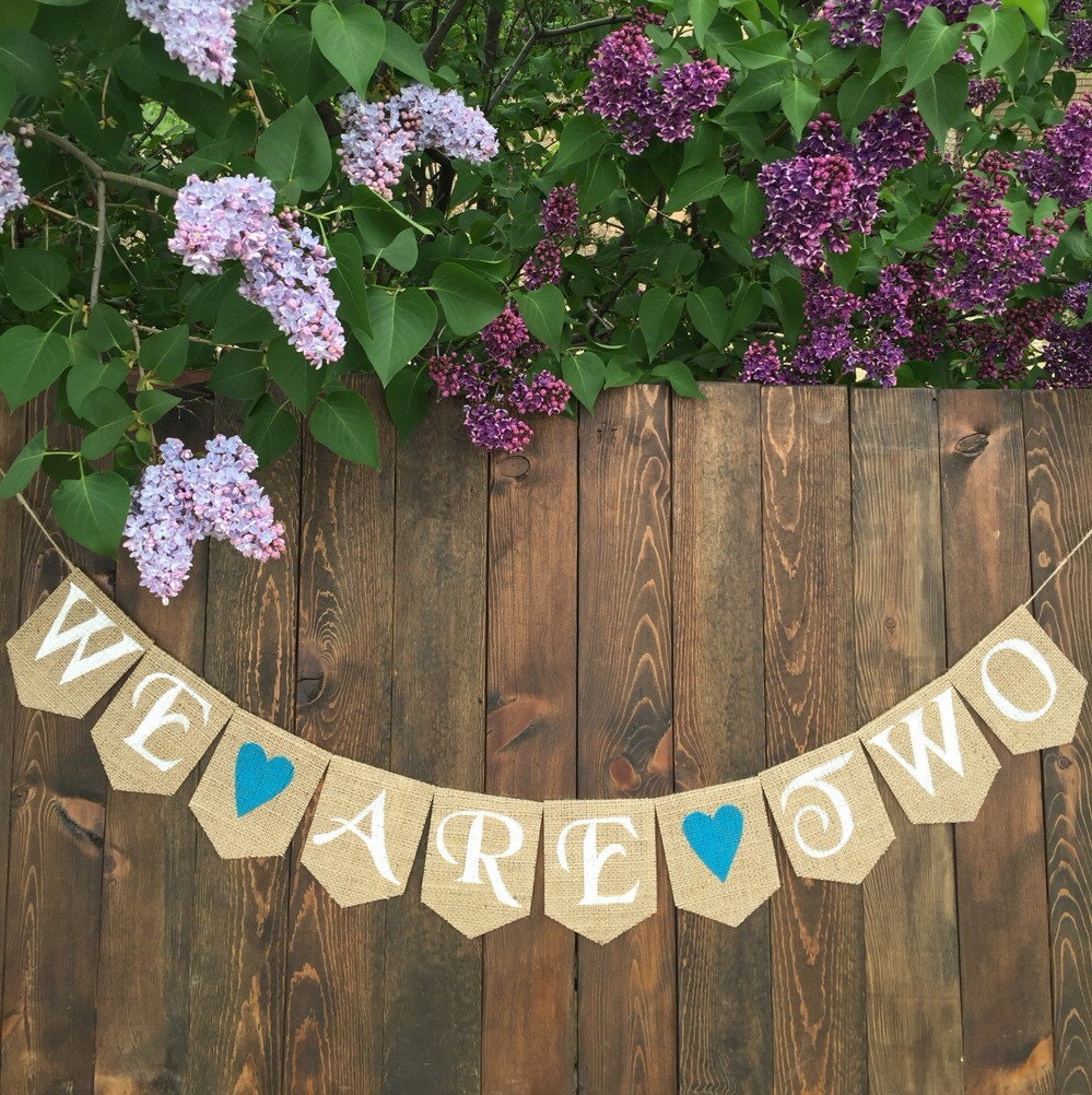 we are two burlap banner baby shower gender reveal banner