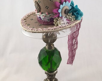 Alice in Wonderland Inspired Mini Top Hat-Great for Tea Parties or as a Photo Prop-OP- Violet, Blue and Green Victorian Steampunk Hat