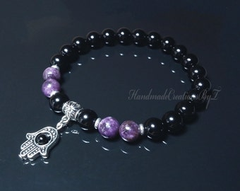Black Onyx & Lepidolite Bracelet, Hamsa, Hand Fatima, Purple Gemstone (Peace Stone) Wrist Mala, Prayer, Meditation, Buddha, Yoga Jewelry