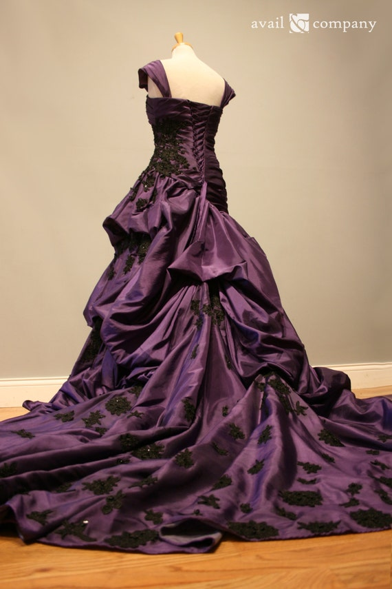 Purple and Black Gothic Wedding Dress Ball Gown Angela Style