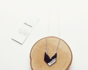 chevron necklace silver necklace long necklace vinyl record modern necklace geometric necklace recycled jewelry sterling silver chain