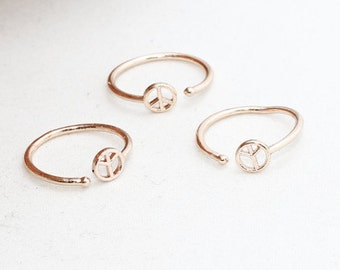 Rose Gold Peace Ring, Adjustable Ring 16-17mm , Rose Gold Jewelry, LA , ROSE100