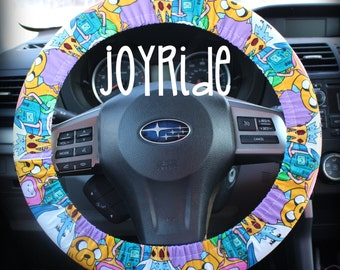 Steering Wheel Cover Adventure time w/ Matching Keychain Option - Princess Bubblegum Lumpy Beemo Ice King  Present for Girls Car Accessories