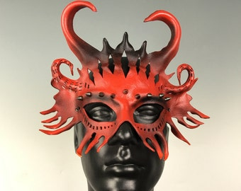 Horny Little Devil Cut Leather Mask - Mardi Gras, Cosplay, Ball Mask, Venetian Mask, Masquerade, Festival wear, Party mask, prom mask