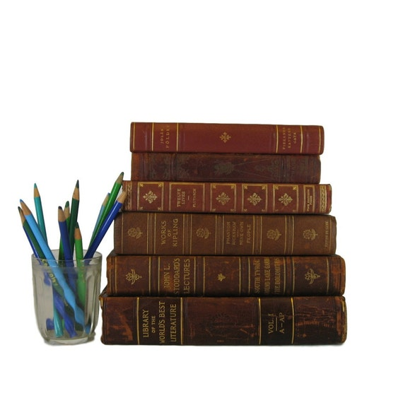 Antique leather books distressed books decorative books for Antique books for decoration