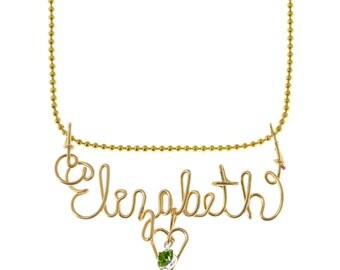 Handmade Personalized Gold Color Wire Name Necklace