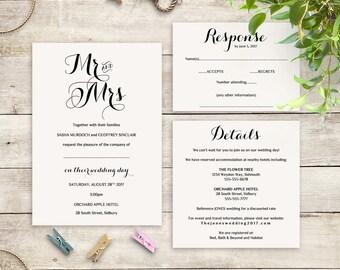 Wedding Invitation template set printable template invitation rsvp info | Byron | Any colours | Editable Word template | DIY templates