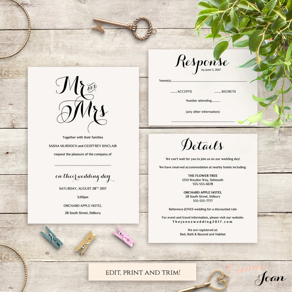 Places To Print Wedding Invitations: Wedding Invitation Template Set Printable Template Invitation