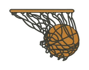 SALE!! Basketball on Hoop Machine Embroidery Design 8 Size - INSTANT DOWNLOAD