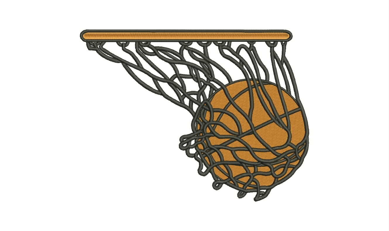 Basketball on hoop machine embroidery design size instant