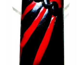 Red and Black Abstract Pendant Handmade by Me FREE SHIPPING!