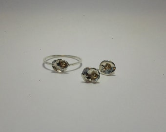 SPLASH set Ring and Earrings / Sterling silver & 14k Gold / Recycled / Raw / Studs / Pebble / Engagement / Dainty / Natural / Handmade