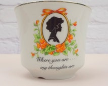 Where You Are... My Thoughts Are Planter / Vintage Silhouette / Silhouette Planter / Gilded Vintage Planter / Vintage Home Decor / Garden