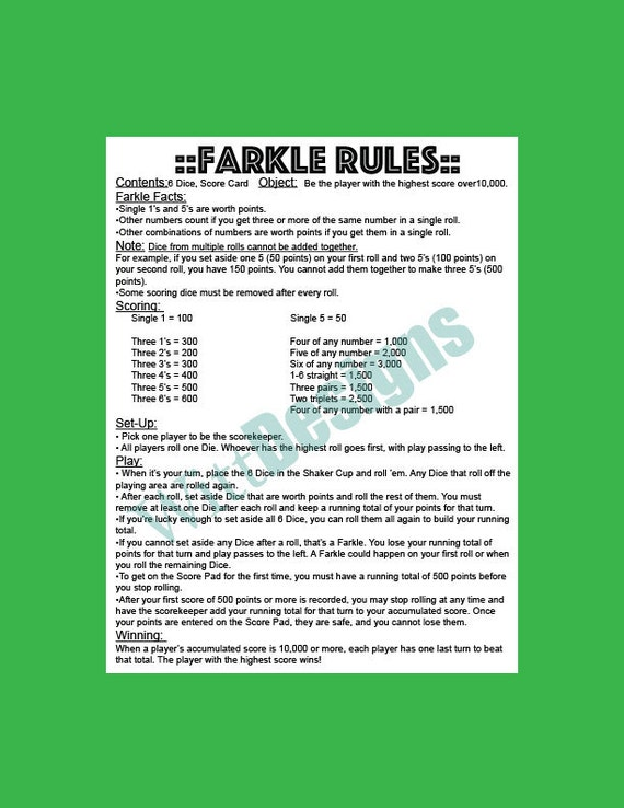 farkle rules 5 of a kind in farkle game