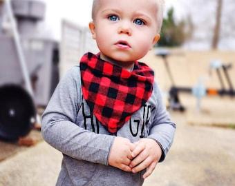 Baby bandana bib   red black buffalo plaid bib   bandana bib   plaid baby boy bib   trendy baby clothes   lumberjack bib   baby bandana