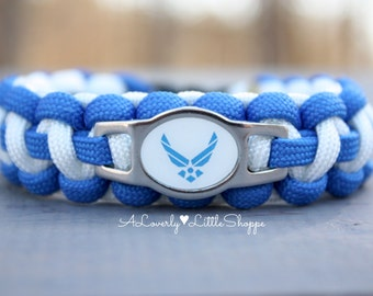 United States Air Force Paracord Bracelet with Stainless Steel Charm - Custom - Survival Bracelet - USAF - Handmade