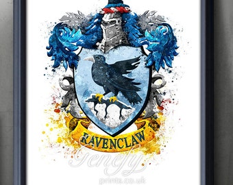Harry Potter Ravenclaw Crest Watercolor Art Poster Print - Wall Decor - Watercolor Painting - Watercolor Art  - Kids Decor - Nursery Decor