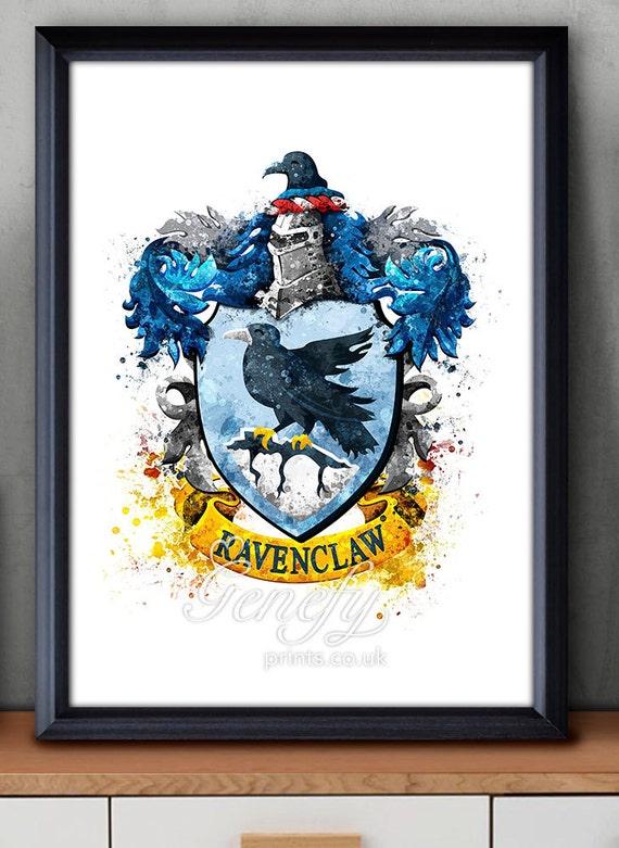 Harry Potter Ravenclaw Crest Watercolor Art Poster Print