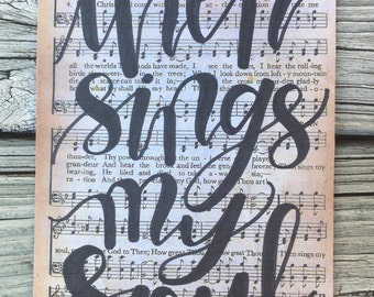 """5x7"""" hand-lettered """"then sings my soul"""" hymnal page art 