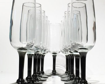 champagne flutes set of 11 libbey black stem champagne glasses wine glasses wedding toasting - Crystal Champagne Flutes