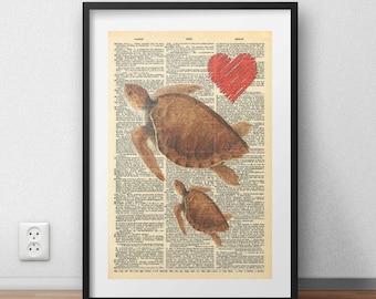 SEA TURTLE Print, Turtle Print, Mother Print, Sea Animals Print, Sea Turtle Wall Art, Mothers Day Gift, Dictionary Print Art