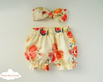 Bloomers Set~ Baby Girl Bloomer~ Baby Girl Headband~ Flower Bloomer~ orange bloomer~ cotton baby bloomer~ orange flower headband~ baby set