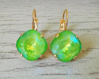 Swarovski Crystal Electric Green, Green Earrings, Bright Color Earrings, Bright Green Earrings, Swarovski 12mm, Green Dangle Earrings