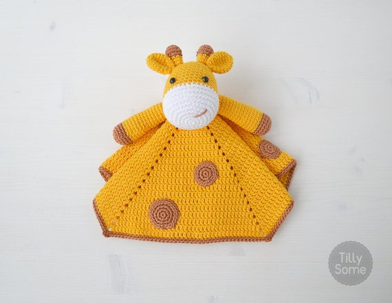 Crochet Pattern Giraffe Blanket : Cute Giraffe Lovey Pattern Security Blanket Crochet Lovey