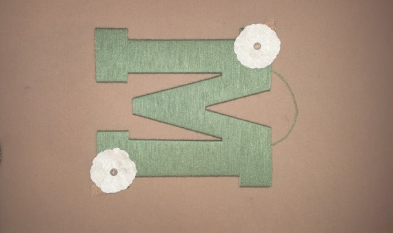 Letter M Wall Decor nursery letter, green yarn letter m, burlap bow, kids room wall