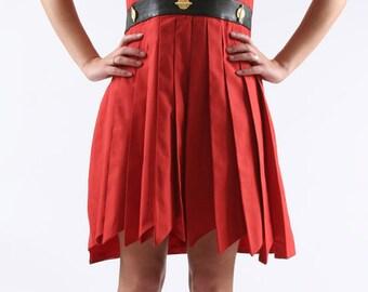 armhole asymmetric cotton dress. genuine leather adorned with Golden pieces yoke