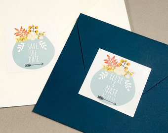 12 Save The Date Floral Stickerscustomized Stickerswedding Invitation Stickers