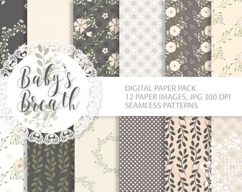 Seamless Baby's Breath digital paper, scrapbooking paper, digital background, digital paper, Instant Download
