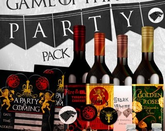 Game of Thrones Party Pack / INSTANT DOWNLOAD / Printable / Diy / invitations / party kit & set / Wedding / Banner / digital / crafts GOT