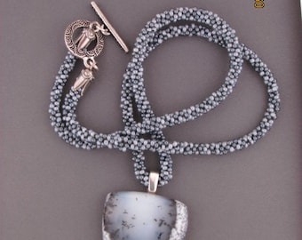 woven chain w/opal pendant