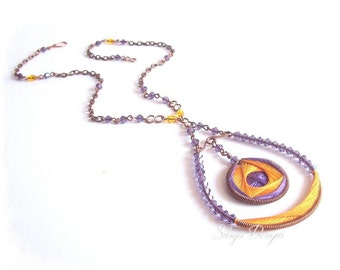 Handmade copper necklace with topaz-yellow and purple cotton threads weaving - One of a  kind - Christmas gift | Filiformi collection