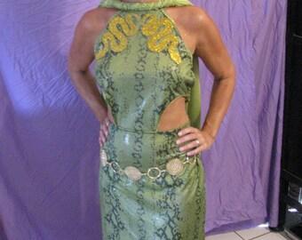 Medusa halloween costume-green snake print