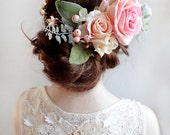 bridal flower crown, flower crown wedding, bridal flower headpiece, pink floral crown, bridal headpiece, pink rose, large flower crown