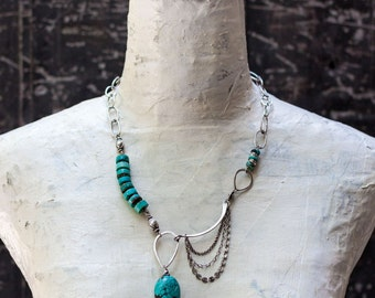 One-of-a-Kind Turquoise and Silver Statement Necklace with Vintage Navajo Turquoise and Handmade Chain - Unique Jewelry - Funky, Boho Chic