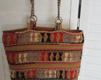 Purse, Handbag, Tan Burlap with Black and Red Embroidery and Beads from 70s