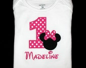 Custom Personalized Applique Birthday Number MINNIE MOUSE and NAME Shirt or Bodysuit - Hot Pink Polka Dot and Black