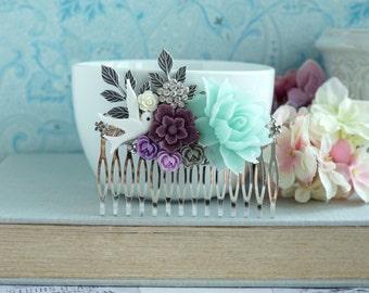 Mint Wedding Comb, Mint Rose, Purple Amethyst Flower Comb, Purple and Mint Wedding, White Dove Green Comb, Bridal Comb, Maid of Honor Gift