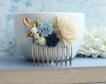 Something Blue Comb, Ivory Rose Comb, Navy Blue Comb, Gold Leaf,  Unique Flower Comb. Vintage Rustic Blue Ivory Wedding. Bridesmaids Gifts