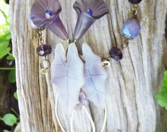 Hand Carved Purple Glass Calla Lily Necklace--stunning