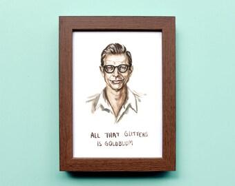 Jeff Goldblum - All That Glitters is Goldblum - Illustration Print - Jeff Goldblum Watercolor Portrait - 8x10 5x7 11x14