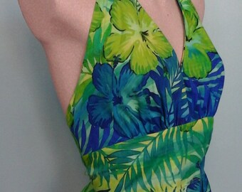 Hawaiian Print Pinup Halter in blue and green floral print and peplum ruffle
