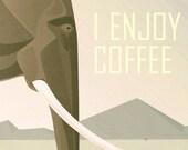 Elephant Enjoys Coffee