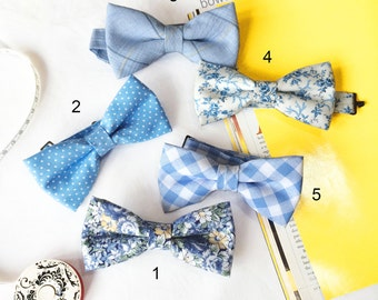 Wedding Set of 5 Blue Men's Bow Ties, Groomsmen Bow Ties, Mismatched Wedding Bow Ties