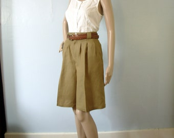 Vintage 80's high waisted pleated shorts, safari linen shorts, khaki brown size 8