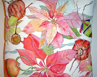 Poinsettias & Decorated Fruit 16x16 Pillow Hand Painted Festive Christmas Soft Pinks Greens Floating Poinsettia Decorative Metallic Accents